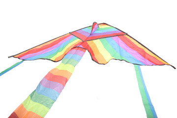 Rainbow Kite Isolated on a White Background.