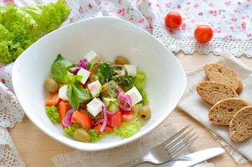 Salad with feta, cucumbers and tomatoes