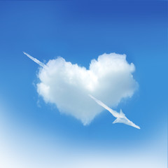 Heart cloud on the blue sky