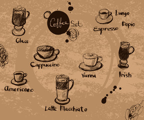 Vector hand drawn set of coffee. Calligraphic text: Cappuccino,