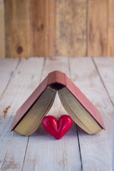 old diary with red heart
