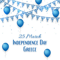 Background with balloons and with a garland from Greece flags. Greece Independence Day celebration poster and greeting message and card. vector illustration.