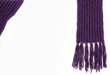 purple knitted scarf on a white background