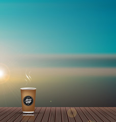 Relax,Vacation time,Holiday,wooden texture floor balcony with skyline nature scenery background ,with coffee cup,To adapt idea for holiday,travel,postcard,elements,good weather,vector illustratio