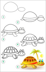 Page shows how to learn step by step to draw a turtle. Developing children skills for drawing and coloring. Vector image.