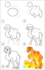 Page shows how to learn step by step to draw a camel. Developing children skills for drawing and coloring. Vector image.