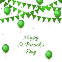 Saint Patrick's Day background with balloons and with a garland. Saint Patrick's Day celebration poster and greeting message and card. vector illustration.