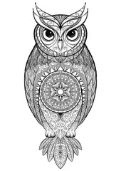 Owl with tribal ornament.