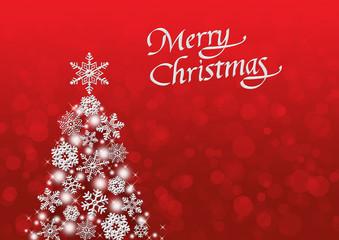 雪の結晶のクリスマスツリー メリークリスマス 赤背景
