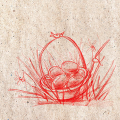 Happy Easter Holiday Eggs in Basket Sketch Hand Drawing