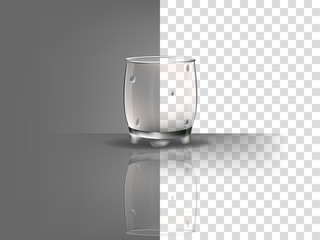 realistic beautiful whisky glass with transparent water condensation vector on transparent background