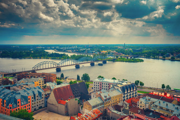 Wall Mural - Panoramic wiev of Riga city with cloudy sky, Latvia, Europe