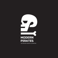Modern pirates - vector logo concept illustration. Skull vector logo. Death logo. Dead sign. Skeleton sign. Human skull in profile - vector concept sign. Halloween sign. Jolly Roger modern sign.
