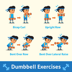 Cartoon set of a man doing dumbbell exercise step for health and fitness