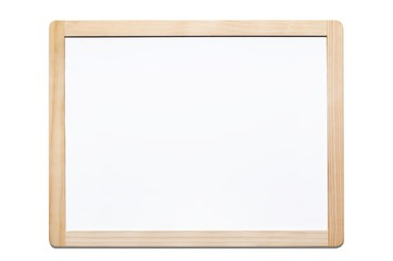 Magnetic whiteboard isolated on white with wooden frame
