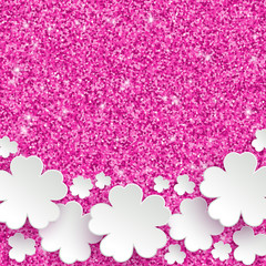 Happy Mothers Day or international womens day or Easter greeting card, holiday glitter dust sparkle pink background with white paper flowers, vector illustration with place for text