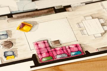 Pink sofa watercolor living room floor plan illustration
