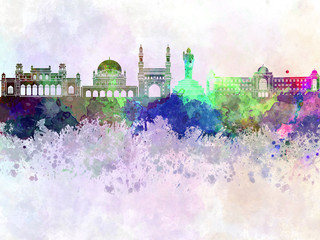 Fotomurales - Hyderabad skyline in watercolor background