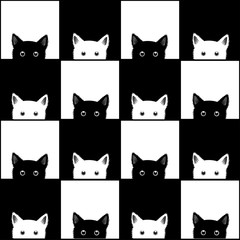 Black White Cat Chess board Background Vector Illustration