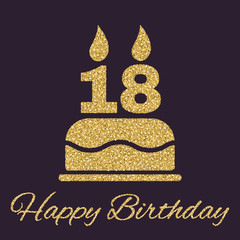 The birthday cake with candles in the form of number 18 icon. Birthday symbol. Gold sparkles and glitter