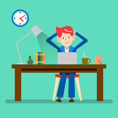 happy people, freelance, relax from working vector design