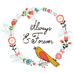 Always and forver card with cute bird