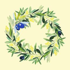 Olive wreath watercolor. Handmade.