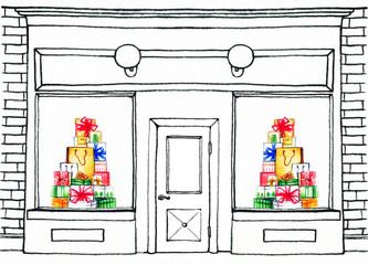 shop window. showcase. watercolor illustration