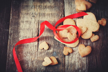 Cookies in the Shape of Heart. Love Valentine Day