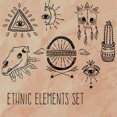 Ethnic elements set. Abstract western objects. Vector illustration