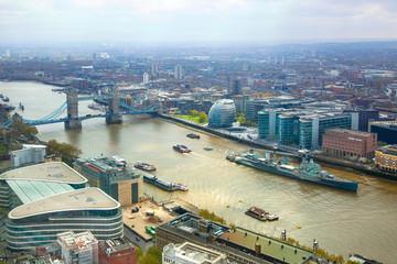 LONDON, UK - APRIL 22, 2015:  Tower bridge view and River Thames