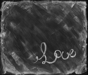 Copy Space Message Love Lettering on Dark Black Chalk Board