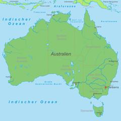 Australien mit Bundesstaaten in Grün (beschriftet) - Vektor