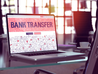 Bank Transfer on Laptop in Modern Workplace Background.
