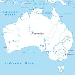 Australien in Weiß (beschriftet) - Vektor