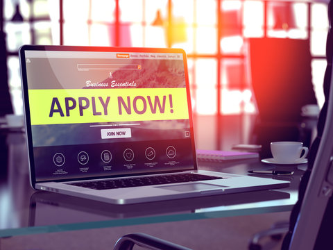 Apply Now Concept on Laptop Screen.