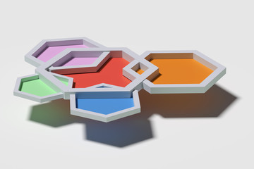Five colorful three-dimensional hexagons from above