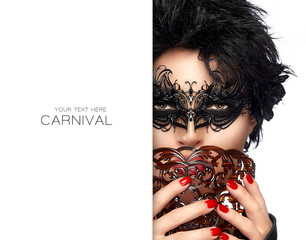 Masquerade. Gorgeous Short Hair Woman with Black Mask. Carnival