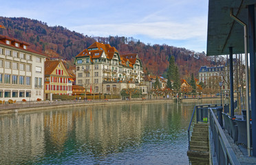 Houses on the Embankment in Old City of Thun