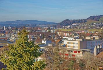 Panorama of modern part of the Thun City