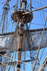 Takelage an historischem Segelschiff