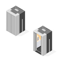 A vector illustration of an isometric elevator icon. Lift personal transportation with a closed and open door.