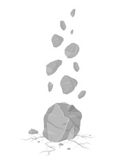 Vector Falling Rocks Icon Illustration.