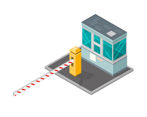 Isometric security check point vector illustration. 