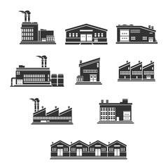 Illustration vector Industrial Factories and warehouse buildings.