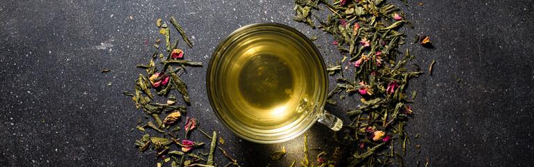 Cup of tea on dark table