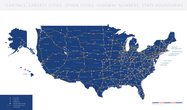 High detailed USA road map vector