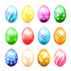 Set of multicolored Easter eggs with decorative patterns