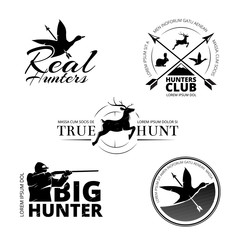 Hunting club vector labels, logos, emblems set. Animal deer and rifle, aim and reindeer illustration