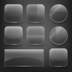 Wall Mural - Glass square, rectangular and round buttons on checkered background. Gloss glass, blank glass, empty round glass, shiny glass button, rectangular transparent glass. Vector illustration icons set